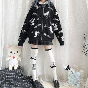 Deeptown Gothic Sweatshirt Women Black Zip Up Hoodie Fashion Autumn Winter Clothes Women Hoodies Korean Long Sleeve Emo Pullover 4
