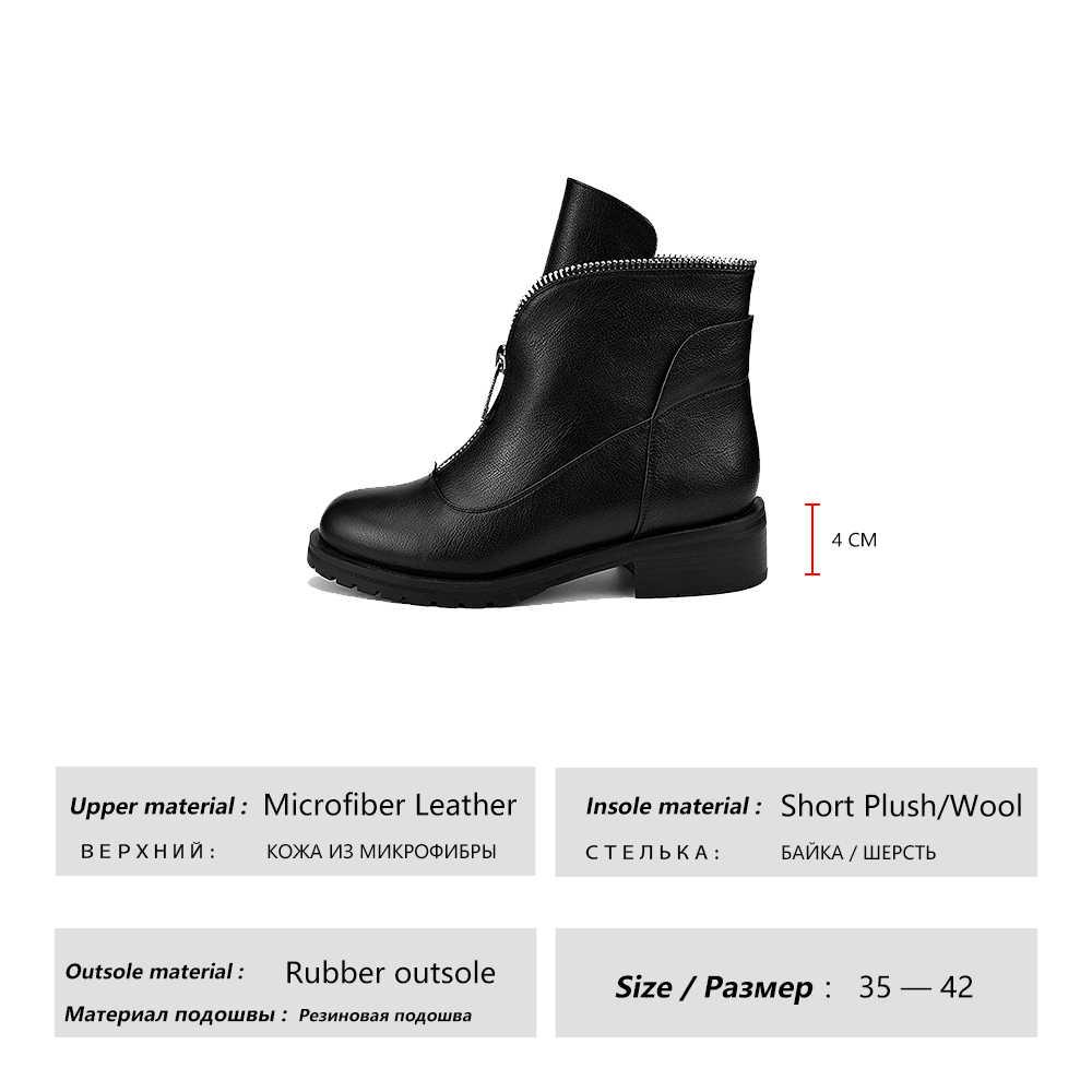 HARAVAL ใหม่แฟชั่นข้อเท้าฤดูหนาวหญิงรองเท้าบูทรอบ Toe รองเท้าส้นสูงรองเท้าแฟชั่นคลาสสิก Basic ซิปรองเท้า B202