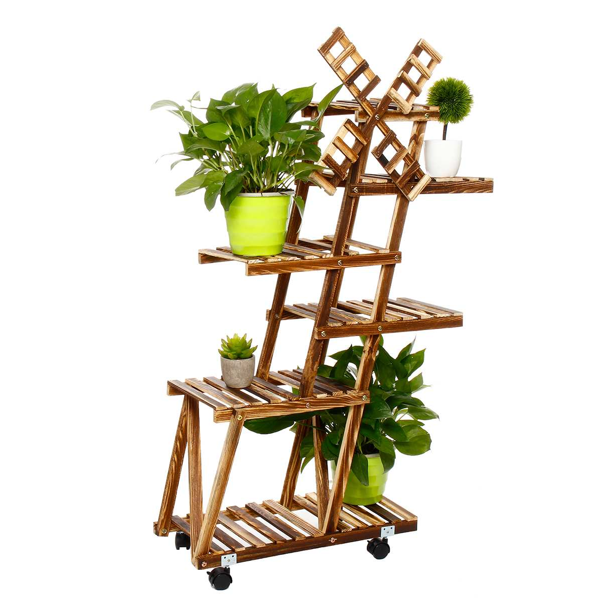 6 Type Furniture Wood Flower Rack Plant Stand With Roller Multi Layer Flower Shelf  Wedding Decor Garden Bonsai Display Windmill