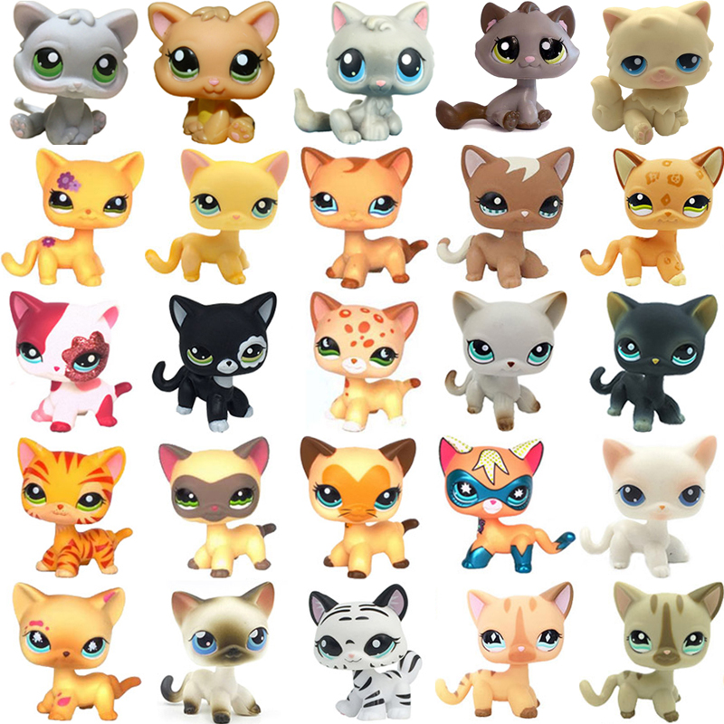 Rare Pet Shop Toys Mini Stands Short Hair Kitten Old Figures Collection Original Cute Animal