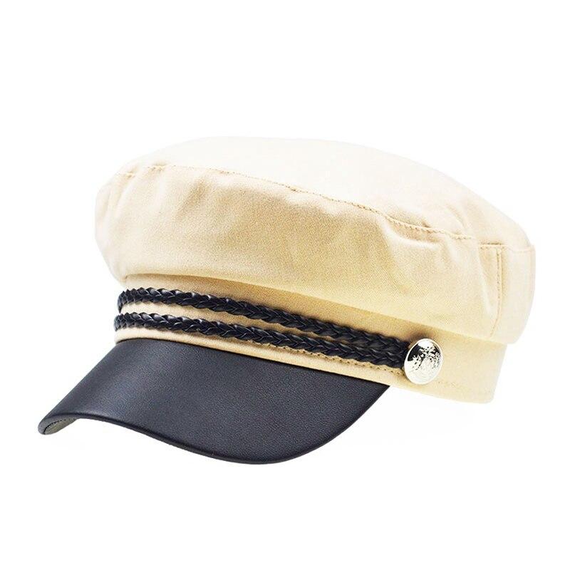Зимняя женская Повседневная Военная шляпа винтажная мягкая хлопковая шерстяная плоский берет восьмиугольная кепка Модная элегантная женская шапка высокого качества - Цвет: Бежевый