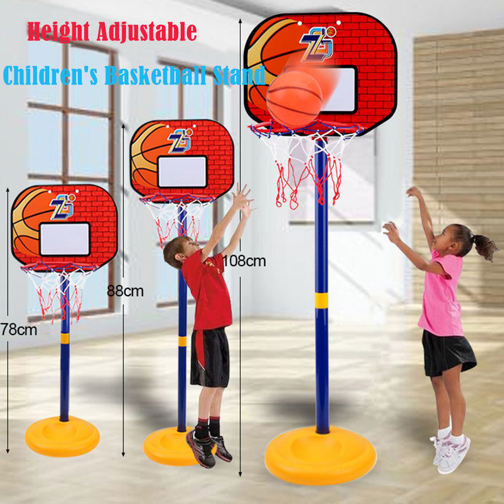 78-108CM Basketball Stands Height Adjustable Kids Basketball Goal Hoop Toy Set Basketball For Boys Training Practice Accessories