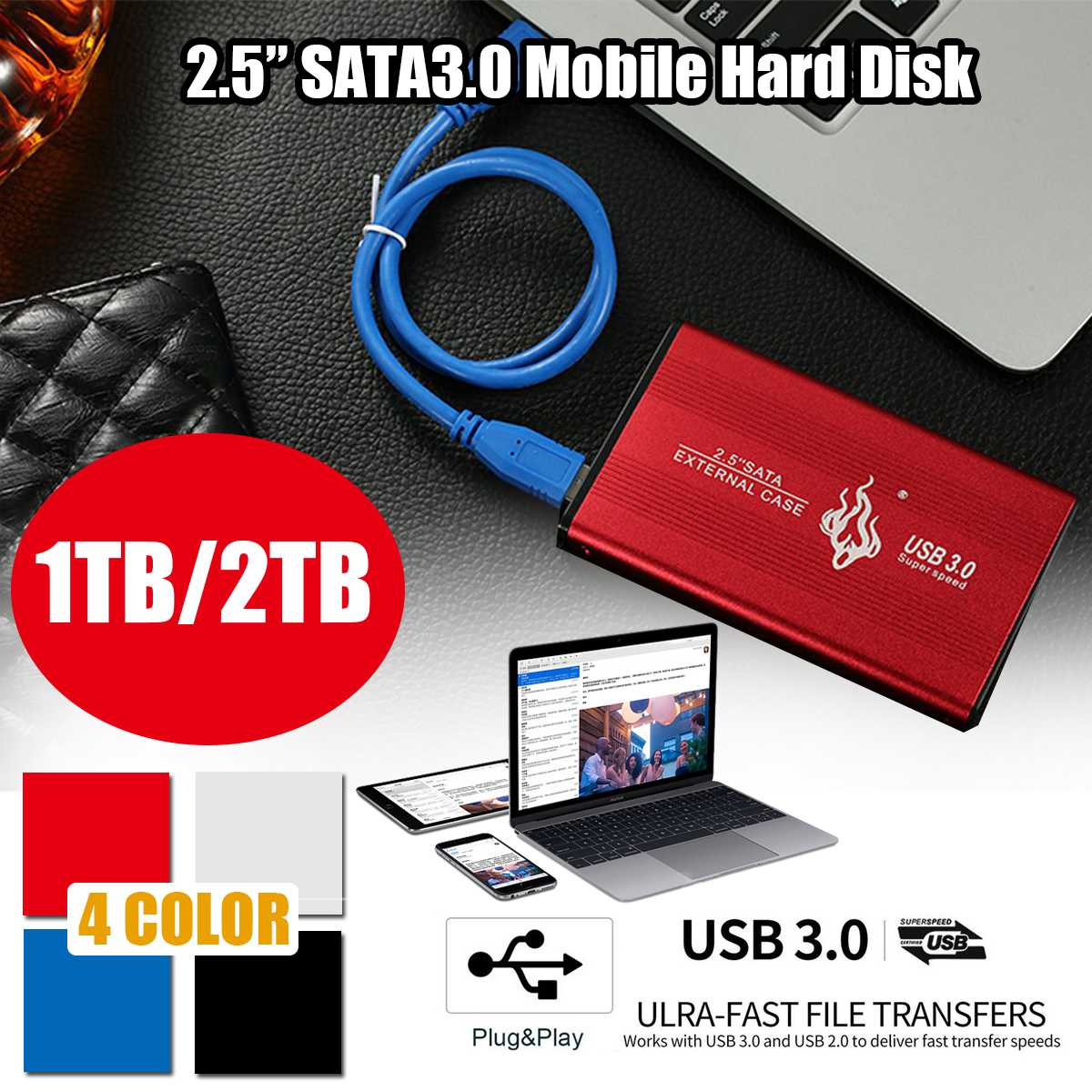 HTS-YP005 2.5 Inch SATA 3.0 External Hard Drive USB 3.0 Mobile Hard Disk 1TB/2TB 6Gbp For Mac PC TV Box