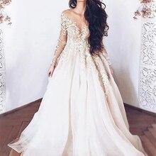 Vestido de casamento longo linha a com ilusão pescoço manga comprida