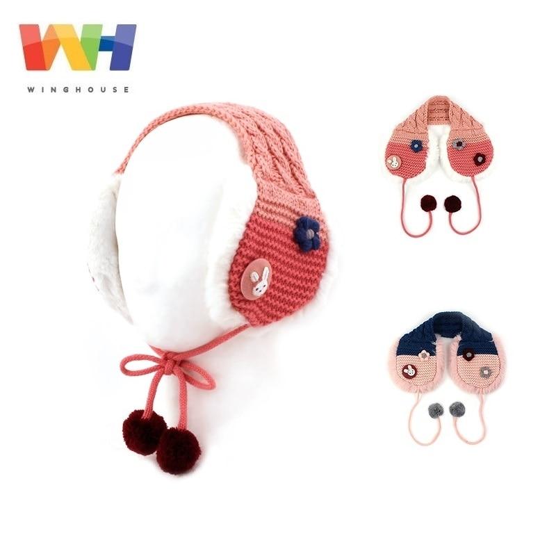 South Korea Winghouse Children Earmuffs Cartoon Rabbit Fur Ball Girl Warm Ear Cover Fleece Earbags Winter Headphones Kid Earflap