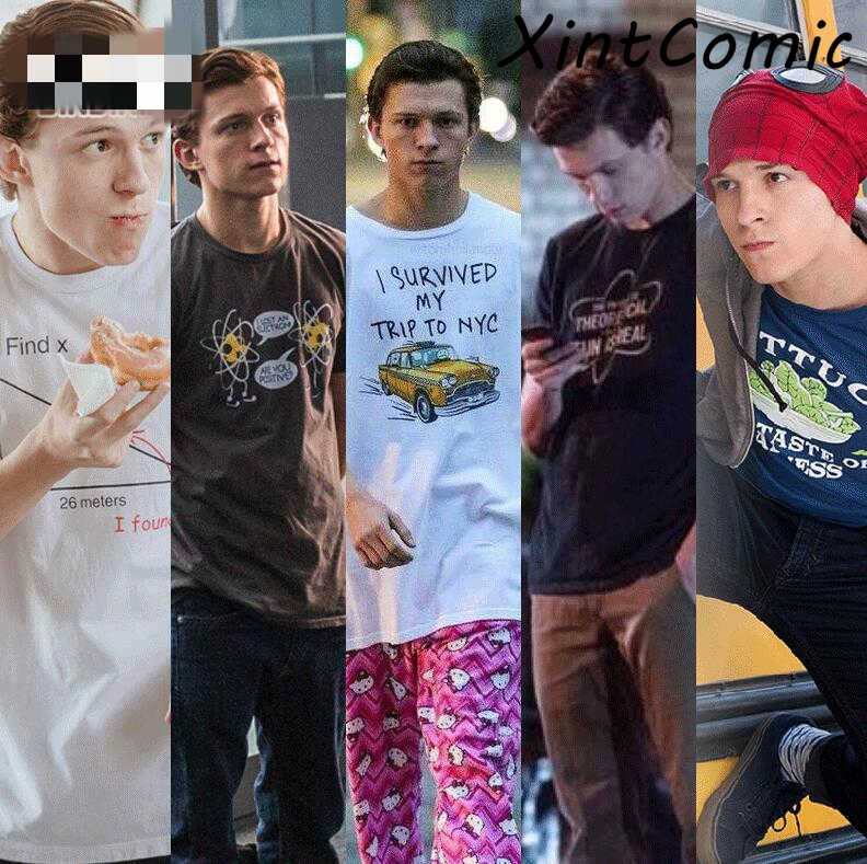 Film Spiderman Homecoming Tom Holland Kaos Peter Parker Cosplay T-shirt Plus Ukuran S-4XL 100% Katun