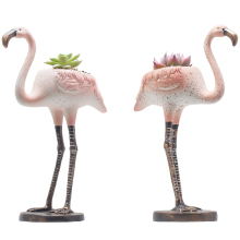 7.1 Inch Mini Life-Like Flamingo Flowers Succulent Plants Pot Cactus Plant Pot Also for Candle Holder Set of 2 with A Hole