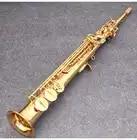 JM Сделано в Японии YSS 82Z Латунь Прямой сопрано саксофон Bb B плоский духовой инструмент натуральный корпус ключ вырезанный узор - 4