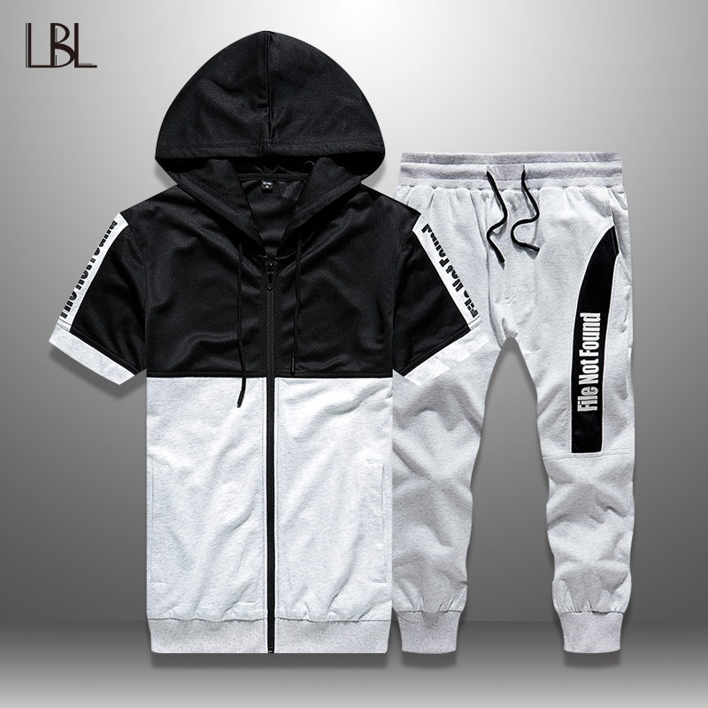LBL Summer Set Men Casual Patchwork Tracksuit Man Bodybuilding Sports Suit Man Sportswear Zipper Hoodie + Shorts 2 Piece Sets