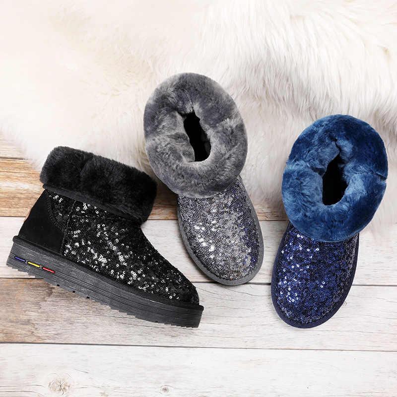 2019 г., зимние ботинки женские зимние ботинки ботильоны на платформе из натуральной замши с украшением в виде кристаллов женская обувь из плюша с толстым мехом