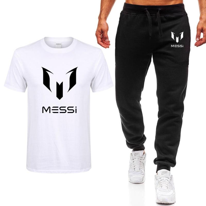 Summer Brand 100% Cotton Barcelona MESSI Tracksuit Men T-shirt+Pants Sets Man Casual Short Sleeve T Shirts Plus Size Tops Tee
