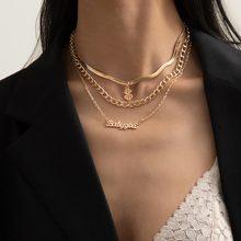 Dólar sinal colar pingente de ouro colar acessório corrente dinheiro para mulher jóias carta multicamadas colar