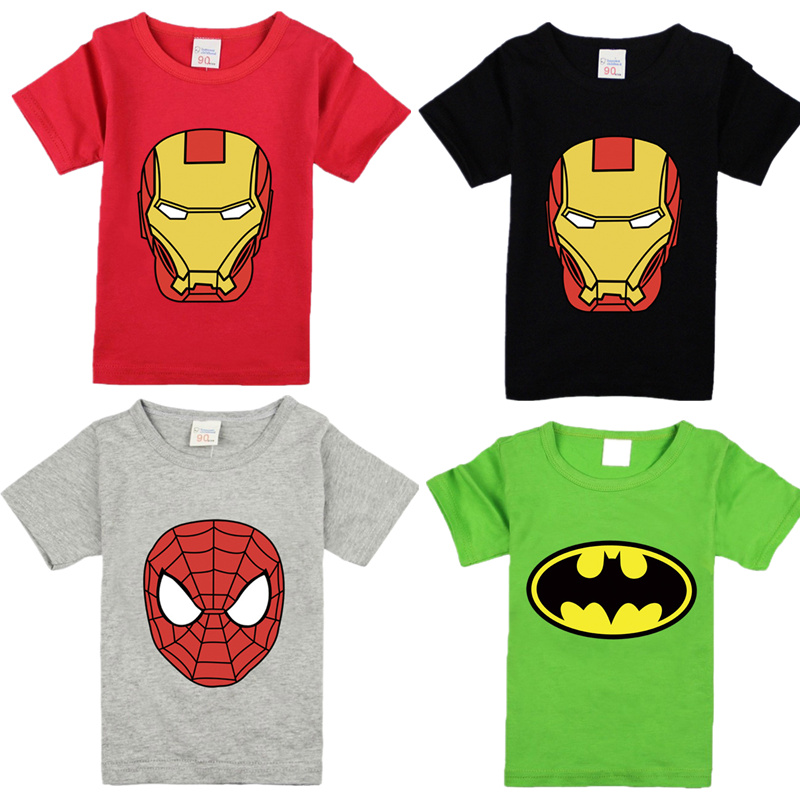 Kids T-shirt For Boys Tees Cartoon Children Boys Avenger Ironman Superhero Spiderman Batman T Shirts Girls Summer Clothing