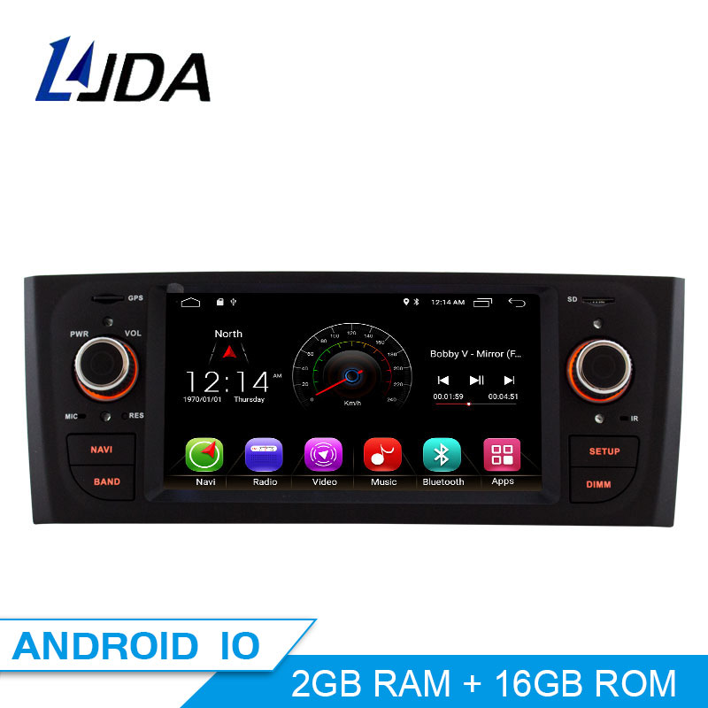 LJDA Android 10.0 Car DVD Player For Fiat Grande Punto Linea 2007 2008 2009 2010 2011 2012 Multimedia Stereo GPS 1 Din Car Radio image