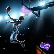 LED Basket Hoop Solar Basketball Rim Playing At Night Shooting for Outdoor Adult Children Training Game
