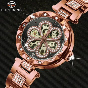 FORSINING Elegant Dress Women Automatic Watches Top Brand Luxury Diamond Bling Dial Skeleton Mechanical Ladies Watch Steel Strap 2017 forsining china brand men watches dress automatic self wind watch black tourbillion dial imported 316l stainless steel band