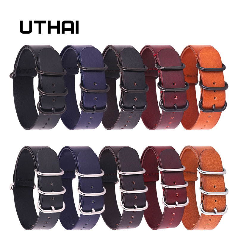 UTHAI Z19 Leather Watchband NATO Watch Band Strap 18mm 20mm 22mm Sliver Ring Buckle Men Women High Quality Watch Accessories