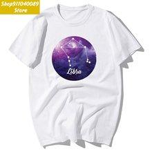2020 модная футболка с изображением двенадцати созвездий весы