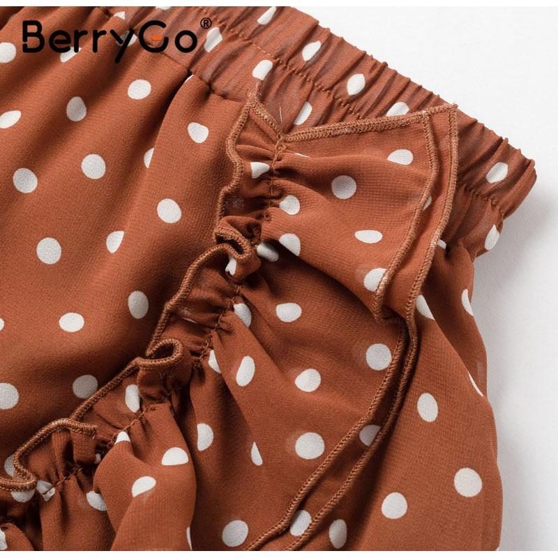BerryGo Elegant polka dot print mini skirts womens A-line ruffled female skirt 2020 Spring summer holiday beach skirts ladies 29