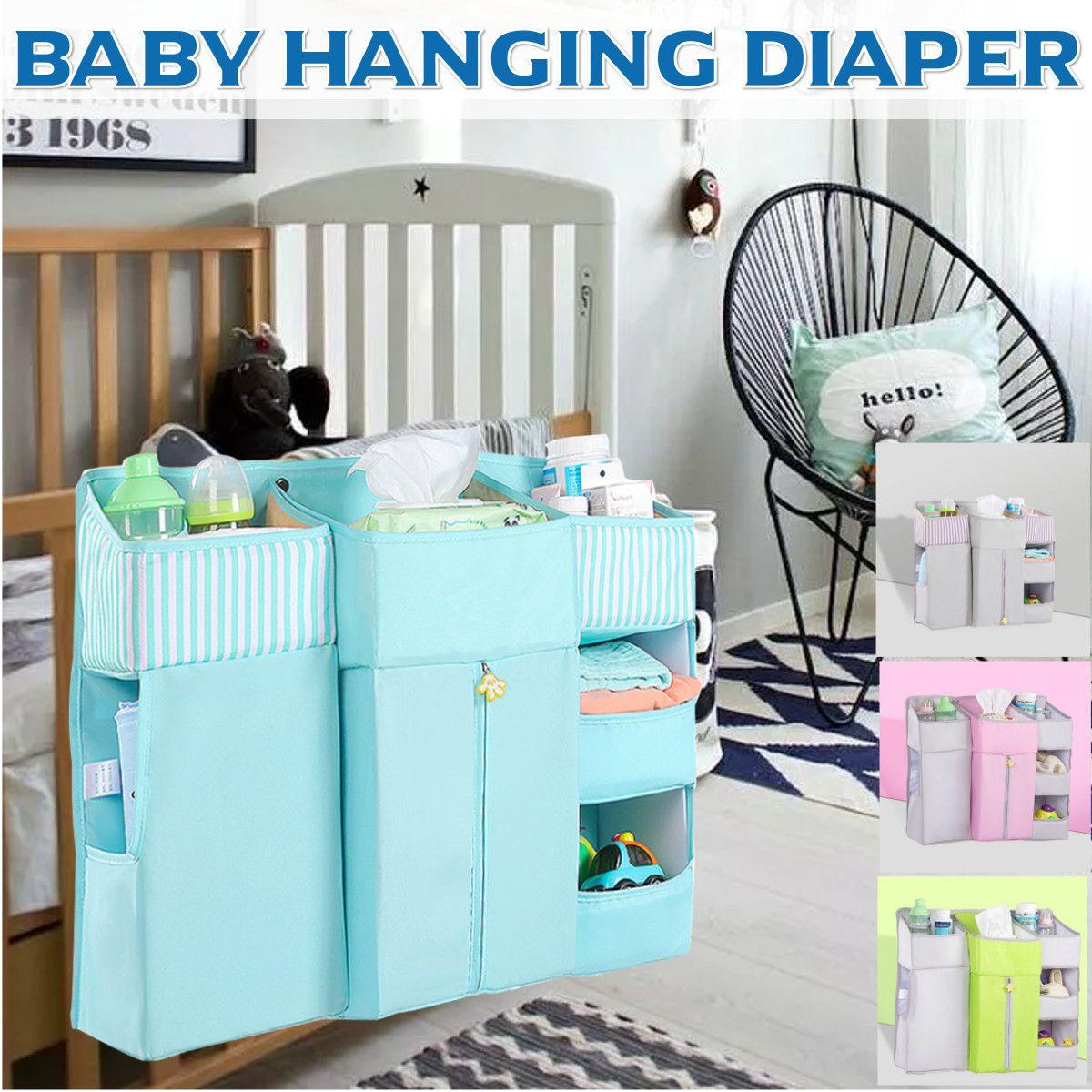 Portable Baby Crib Organizer Bed Hanging Bag For Baby Essentials Diaper Storage Cradle Bag Crib Bedding Set Bedside Diaper Caddy