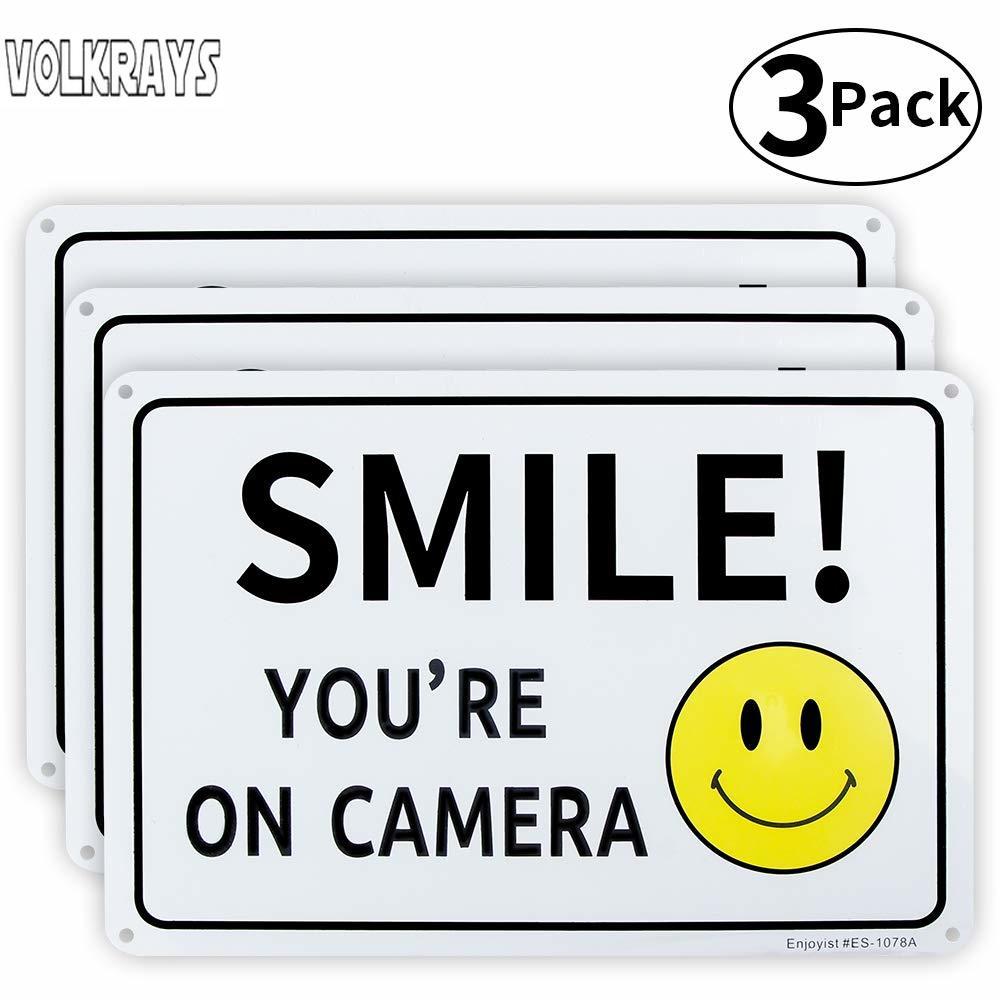 Автомобильный стикер Volkrays 3 X, аксессуары для камеры Smile You're on, светоотражающая Солнцезащитная Водонепроницаемая виниловая наклейка, 22 см * 6 ...