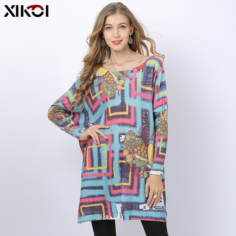 2019 Novel Fruit Maze Knitted Sweater Women Winter Jumper Patchwork Print Oversized Dress O-neck Wool Pull Femme Loose Pullovers
