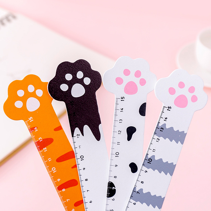 20pc/lot  Cat Claw Stationery Ruler / Student Wood 15cm Scale Measuring Ruler / Girl Drawing Learning Supplies/Stationery Goods