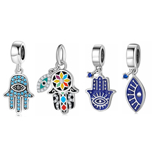 925 Sterling Silver Hand of Fatima pendants Patron saint charms beads Fits Original Designer Charms Bracelet Jewelry making