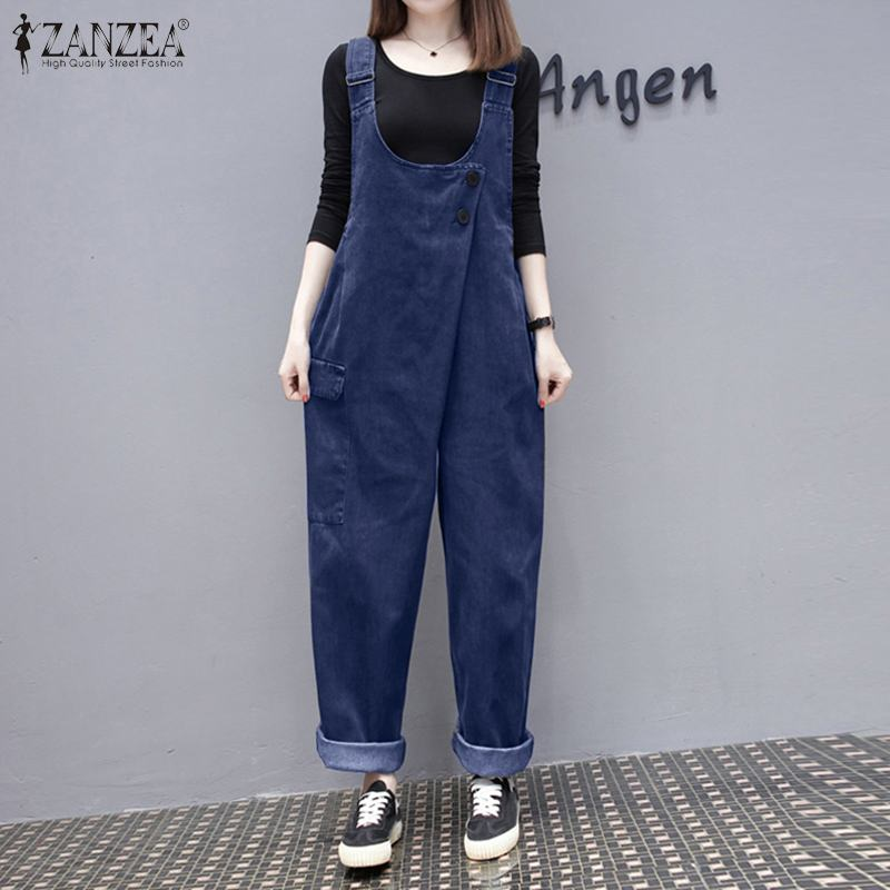2020 Women Jumpsuits ZANZEA Stylish Denim Style Rompers Casual Summer Overalls Pants Solid Wide Leg Trousers Loose Playsuits