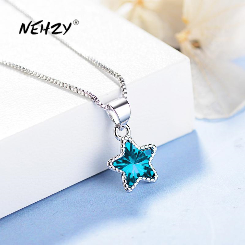 Nehzy 925 Sterling Silver New Woman Fashion Jewelry High Quality Blue Crystal Zircon Pentagram Pendant Necklace Length 45cm Best Deal 2648 Cicig