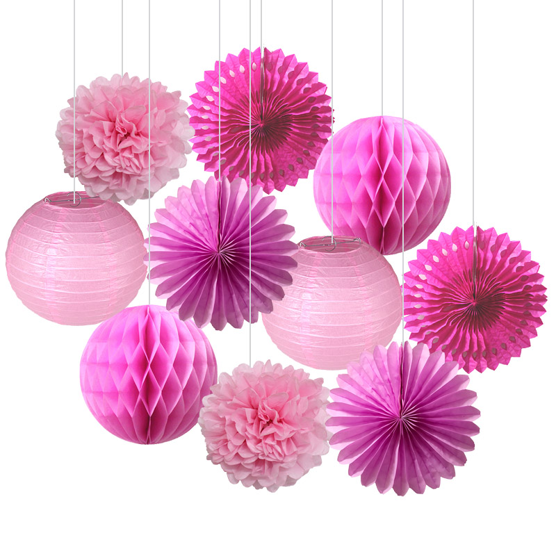 10pcs/set Pink Blue Paper Fans Circle Honeycomb Ball Lantern Paper Pompoms Flower Kids Birthday Party Wedding Shower Decoration