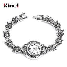 Kinel Exquisite Crystal Floral Bracelets For Women Antique Silver Decorative Watch