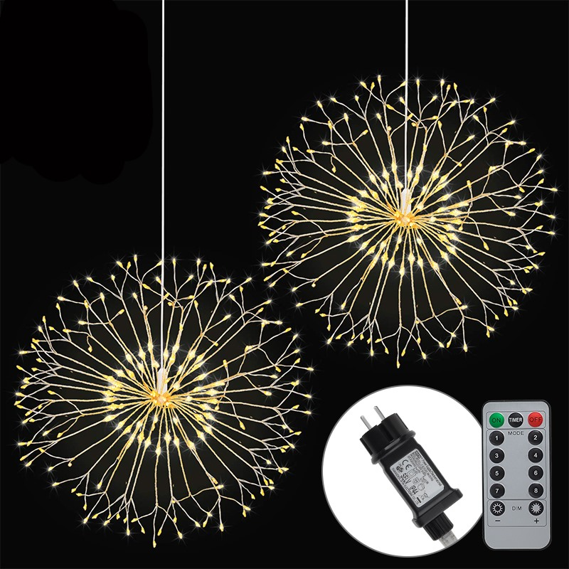 1PCS 198 LED Outdoor IP65 Hanging Starburst String Light Firework Copper Lights Modes Dimmable String Fairy Lights Dropshipping