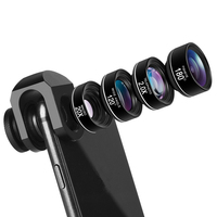 High End 4 in 1 Phone Camera Lens Kit Fish Eye Wide Angle Macro Telephoto Lenses with Universal Clip Lentes for samsung huawei