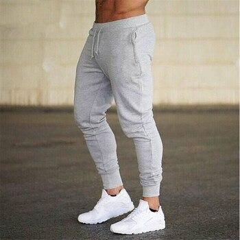 Fitness Muscle Gray Jogging Pants Solid Running Pants Men Sport Pencil Pants Men Cotton Soft Bodybuilding Joggers Gym Trousers
