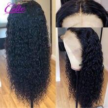 CELIE − Perruque cheveux naturels, avec bonnet 360 en dentelle transparente, poils humains crépus bouclés, avec baby-hairs, pour les femmes