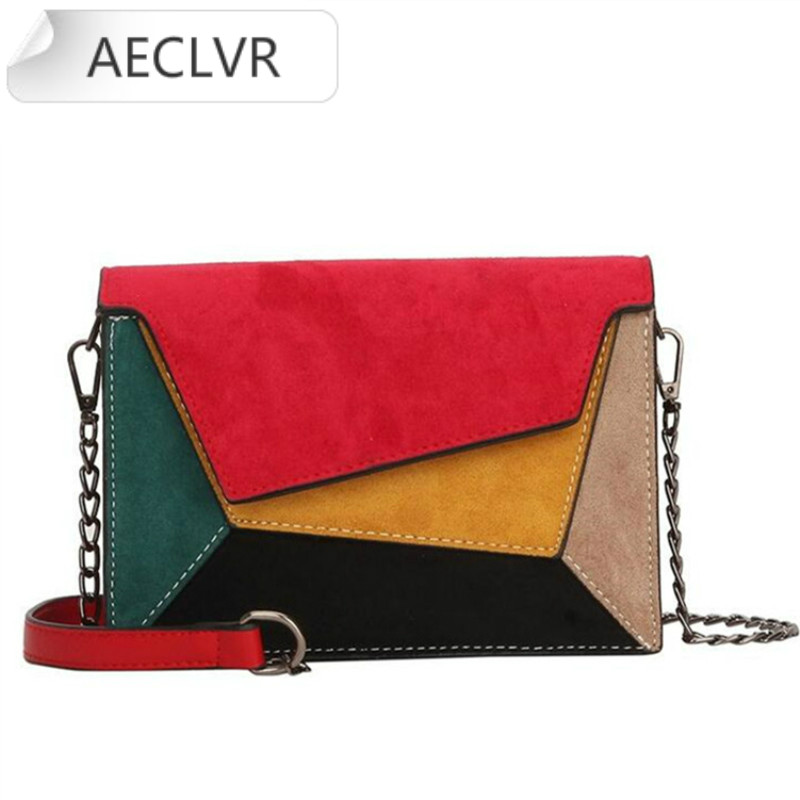 Purses Retro Matte Patchwork Crossbody Bags For Women Messenger Bags Chain Strap Shoulder Bag Lady Small Flap Criss-cross Bag