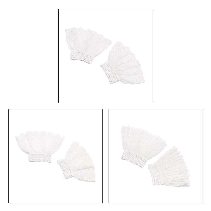 Vintage Women Pleated Ruffles Decorated Horn Cuffs Hollow Out Embroidery Floral Lace Fake Sleeves Elastic Double Layer