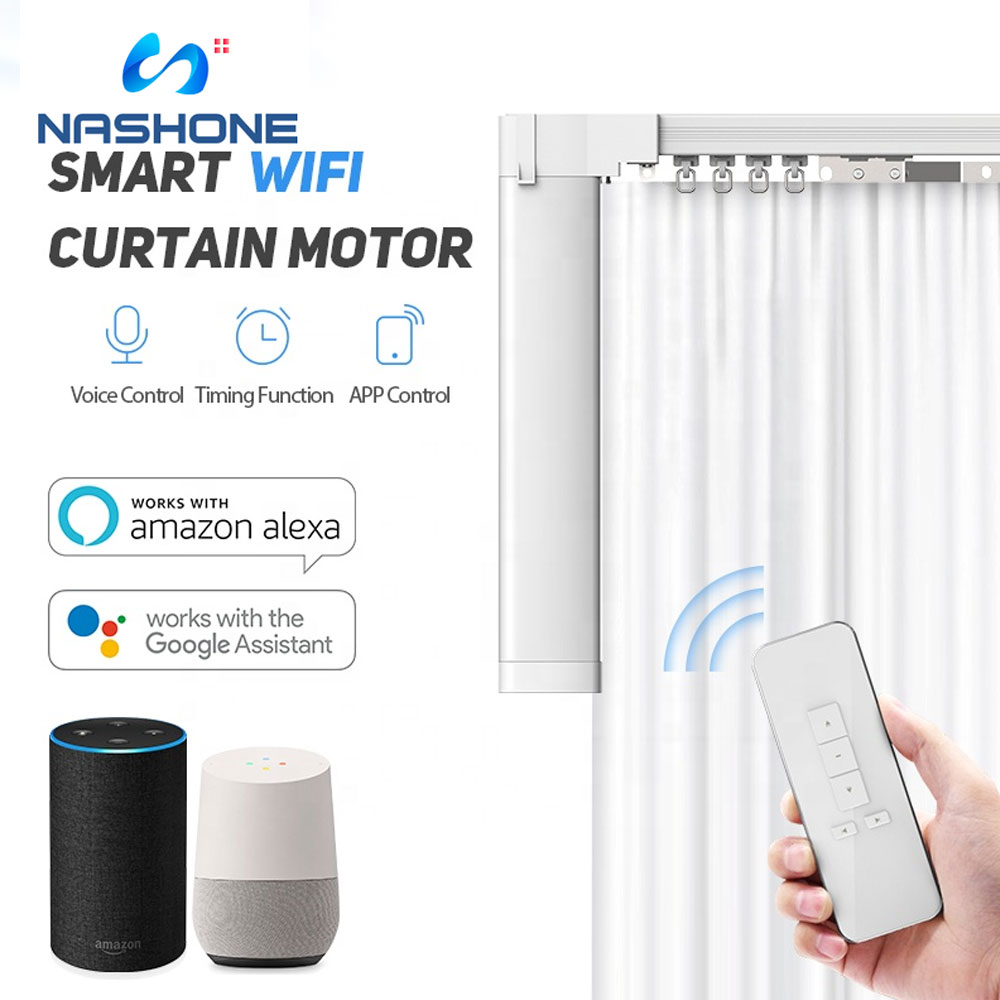 Nashone Smart Curtain Motor Wifi Wireless Remote Control Tuya App Curtain Automation Control System Works With Alexa Google Home