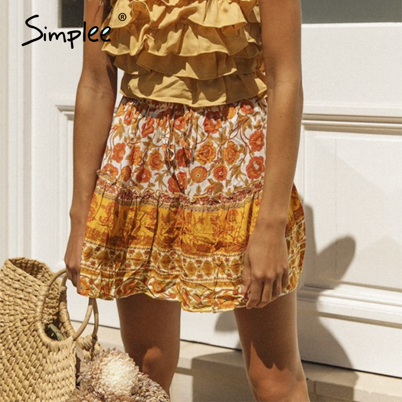 Simplee Bohemian Floral Print Women Long Skirt High Waist Lace Up A-line Female Skirt Spring Summer Holiday Ladies Skirts Bottom