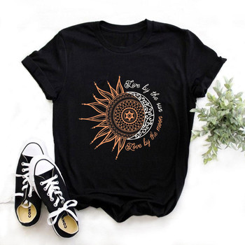 2020 women casual fashion t-shirt letter sun moon print loose o-neck short sleeve elastic stretched tshirt summer tops,drop ship letter print drop shoulder t shirt