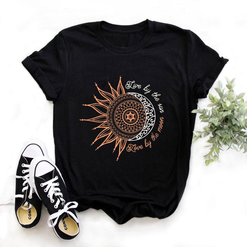 Женская Повседневная модная футболка с надписью sun moon, свободная футболка с круглым вырезом и коротким рукавом, эластичные растягивающиеся летние топы, Прямая поставка, 2020 Футболки      АлиЭкспресс