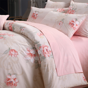 4 Pcs Egyptian Cotton Satin Bedding Set Country Style Small Broken Flower Series 1.5M Bed Sheet Quilt Cover Pillow Case
