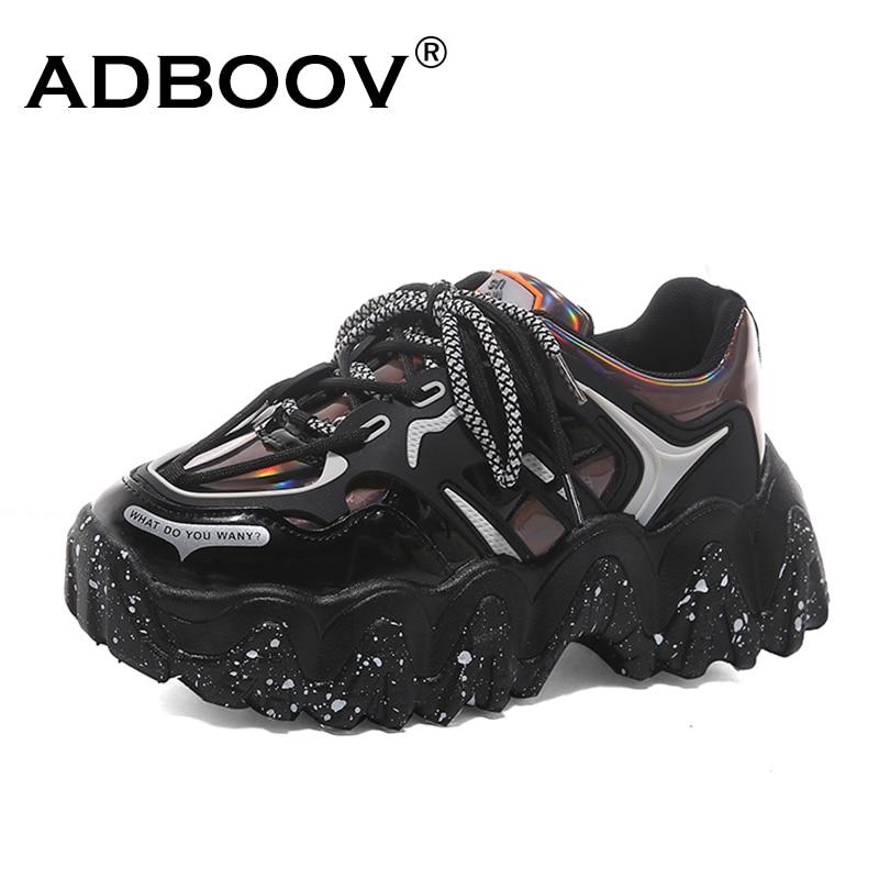 ADBOOV New 2020 Wave Sole Fashion Sneakers Women Laser Upper Platform Casual Shoes Woman Zapatillas De Deporte Mujer