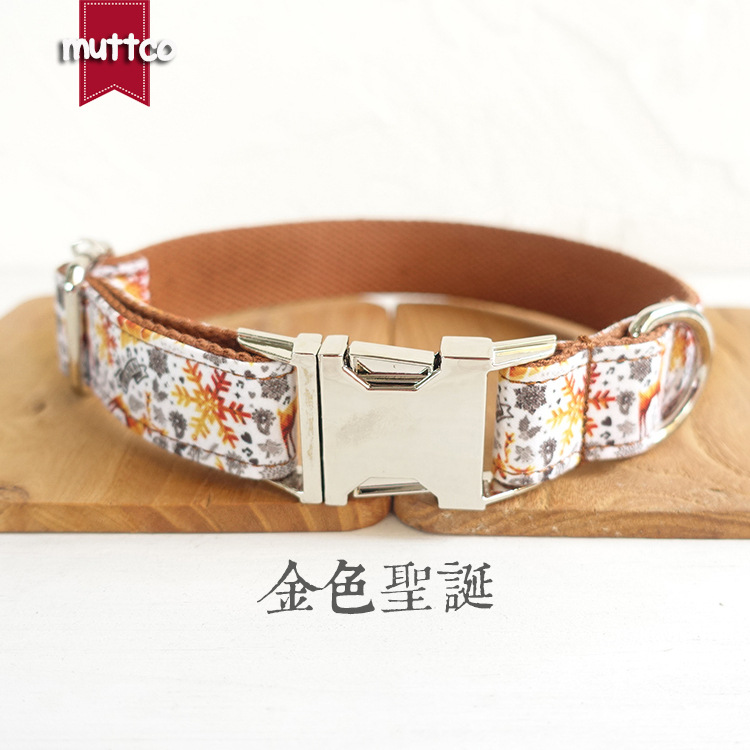 Muttco New Style Dog Neck Ring Entirely Handmade Pet Dog And Gold Christmas Collar Udc-061