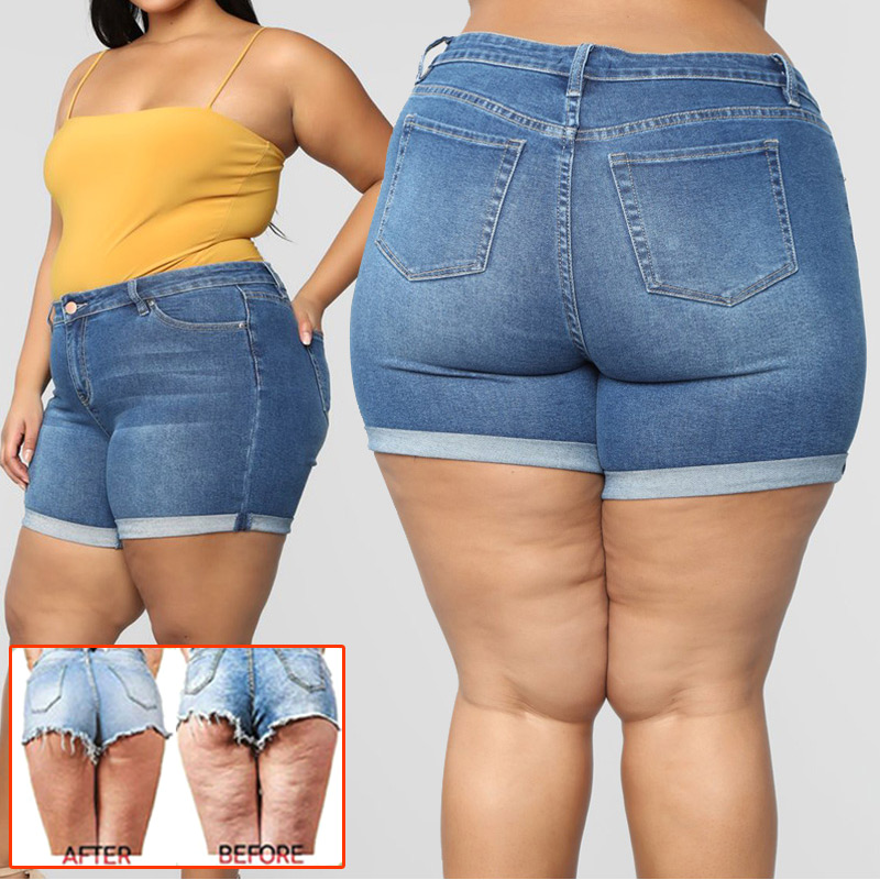 Women Plus Size Stretch Denim Shorts High Waisted Hot Shorts for Summer N66