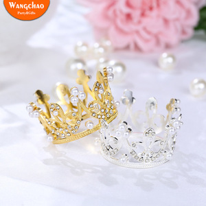 Shining Mini Crown Cake Topper Metal Pearl Happy Birthday Cake Toppers Wedding&Engagement Cake Decora Sweet 16 Party Decorations(China)