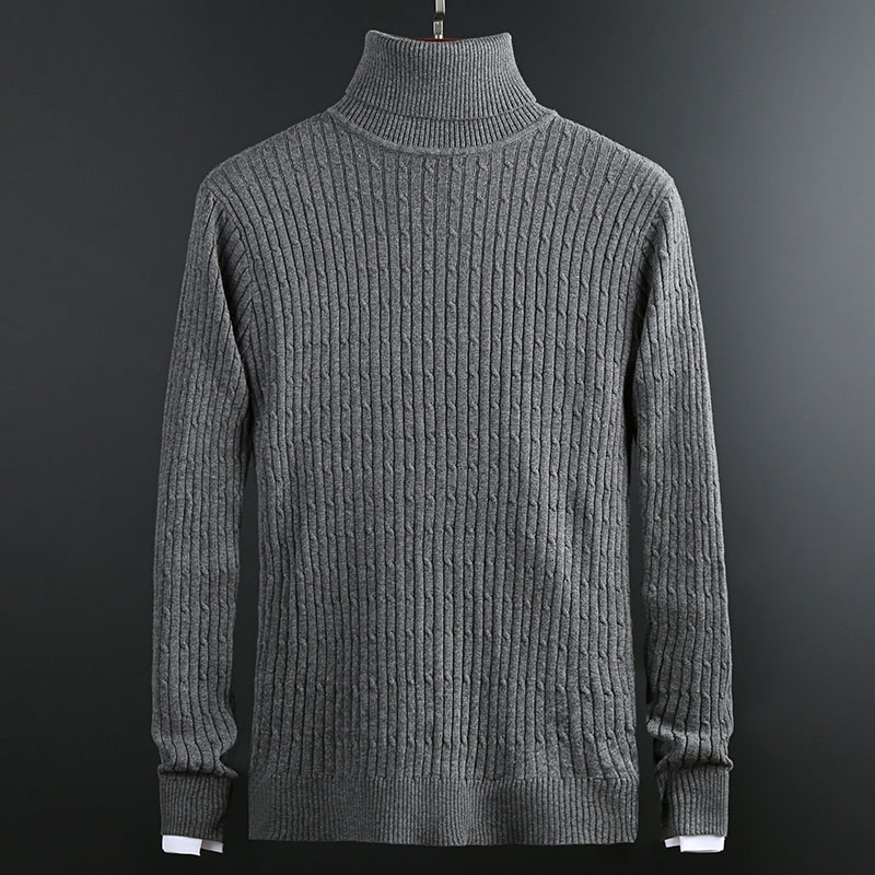 New Fashion Brand Sweater For Mens Pullover Jacquard Slim Fit Jumpers Knitred Turtleneck Winter Korean Style Casual Men Clothes