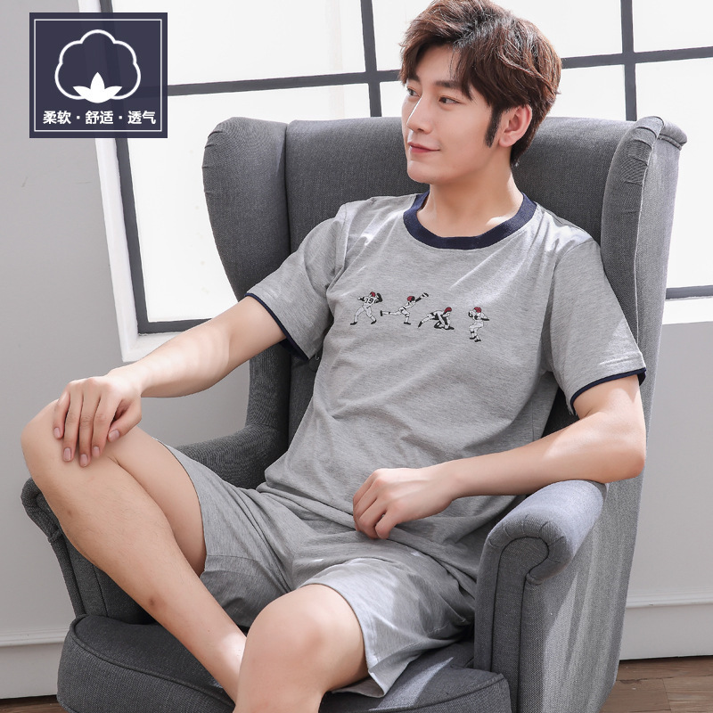 Onesie Men Pijamas Hombre Men's Pajamas Sleeve Summer Youth Spring And Autumn Thin Large Loose Home Suit One Hair Substitute