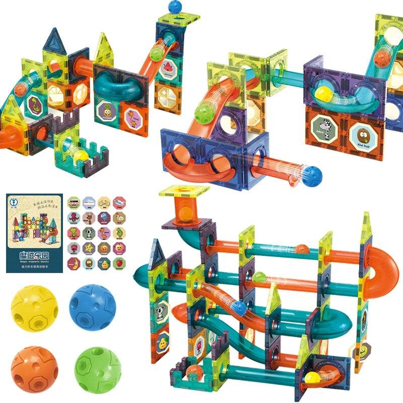 Kids Magnetic Sheet Building Blocks Slide Ball Magnetic Blocks Model Building Toy Track Assembly Toy Designer